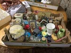 Box of miscellaneous decorations & more.