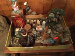 Box of miscellaneous decorations