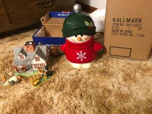 Hallmark snow baby cookie jar plus farmhouse scene.