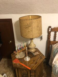 Lamp and contents of table