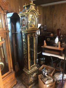 Oriental look grandfather clock. 80 inches tall. (Lot tag 3)