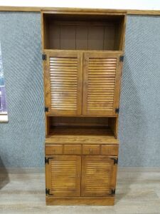 "Ethan Allen Solid Wood Hutch/2 pieces/77"" tall"