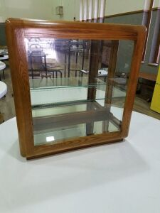 "Solid Oak Lighted/Mirrored Console Case w/glass shelf/made in USA/28""x12""x30""tall/light works"