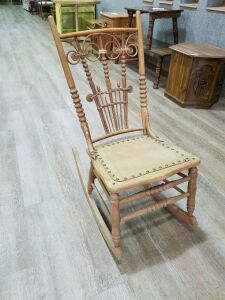 Vintage Oak Rocker/leather seat/3' high
