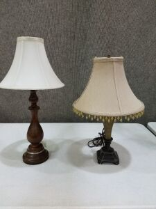 "Two lamps/ 22"" and 19"" tall"