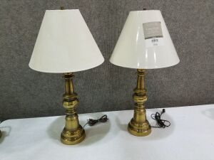 "Two brass lamps/ 30"" tall"