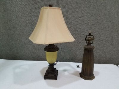 "2 old Vintage lamps/old wiring/30"" and 20"" tall"