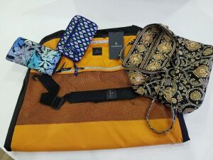 Vera Bradley Purse and 2 Clutches/ Victorinox garment bag