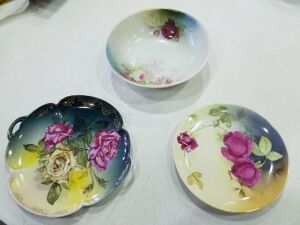 2 vintage plates and one bowl