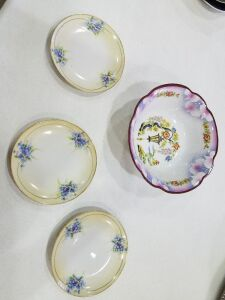 German Bowl and 3 Nippon Dessert Plates