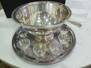 Silver Punch Bowl Set w/36 Glass Cups (very good condition)