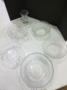 5 Glass Bowls and small Vase