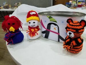 Crocheted Characters/ metal tub