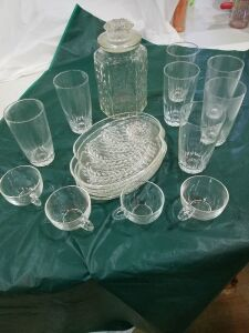Set of 4 glass snack Plates w/cups , Jar, and 7 glasses