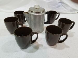 Vintage Coffee Pot w/ 6 Stoneware Cups
