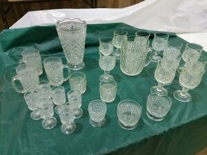 Assortment of glassware w/Pitcher and Vase