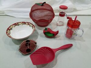 Assortment of Red Kitchen Items