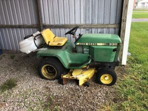John Deere 330 diesel. hydrostat, 54 inch. Located in Butler. Not started. Needs battery.