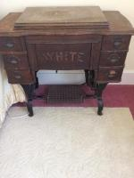 Antique White Treadle Sewing Machine in Cabinet