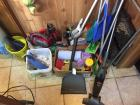 Electric broom, step stool, misc mops and cleaning supplies