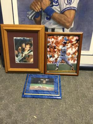 Two George Brett photos at home plate and hit by pitch.