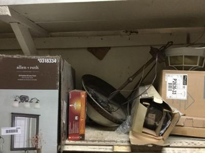 Light fixtures and contents of shelf